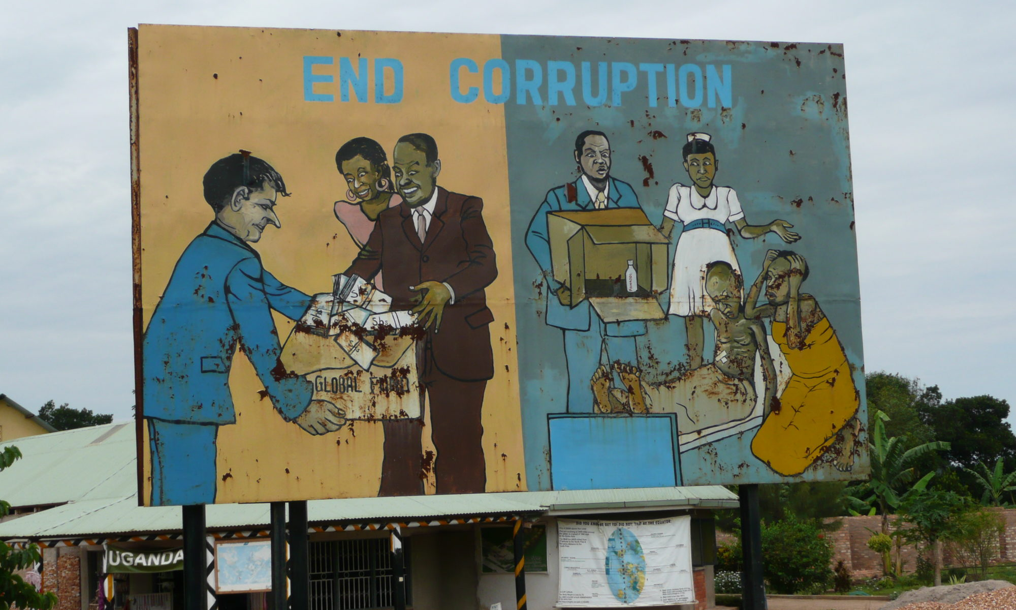 Photo : End corruption, panneau vu en Ouganda en 2008, par CC-by-nc par Michael Sale https://flic.kr/p/5rcgxN.