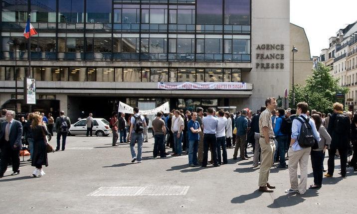 Manifestation à l'AFP en 2008, CC-by-nc-nd par Philippe Leroyer https://flic.kr/p/4Q4Sy9.